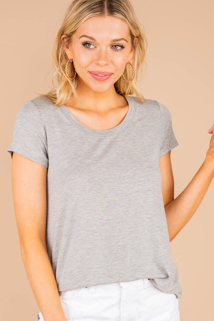 soft, casual, comfy, heather gray tee, scoop neckline, short sleeves, tee, top