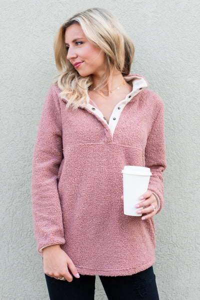 Stay Cozy And Warm Pullover, Rose