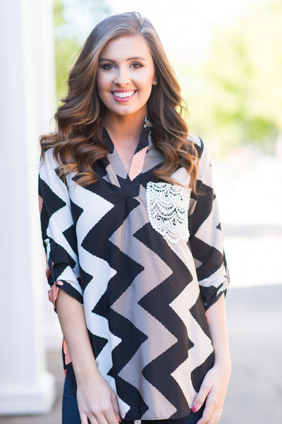 Chic In Chevron Top, Black