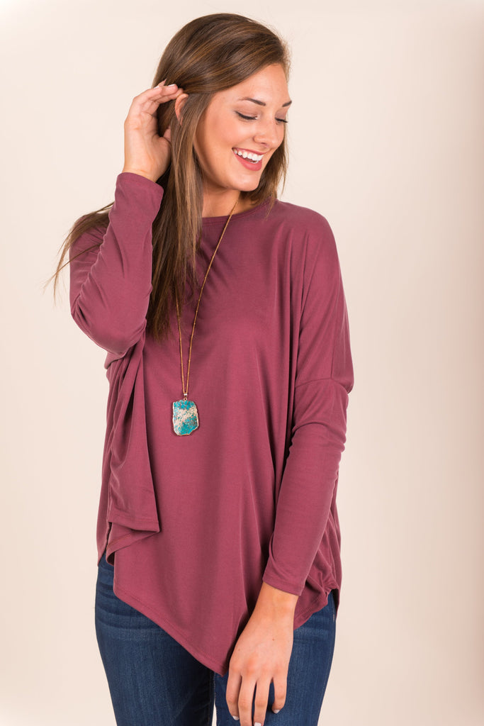 Whatever You Need Top, Burgundy