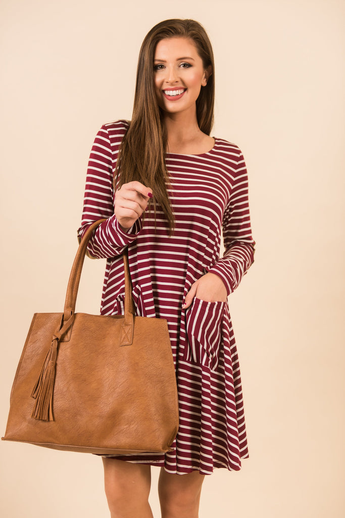 Early Morning Ease Dress, Burgundy