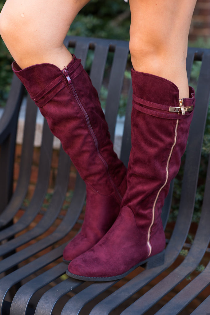 Chic Commuter Boots, Wine