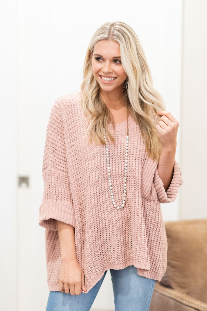 Open To Love Sweater, Mauve
