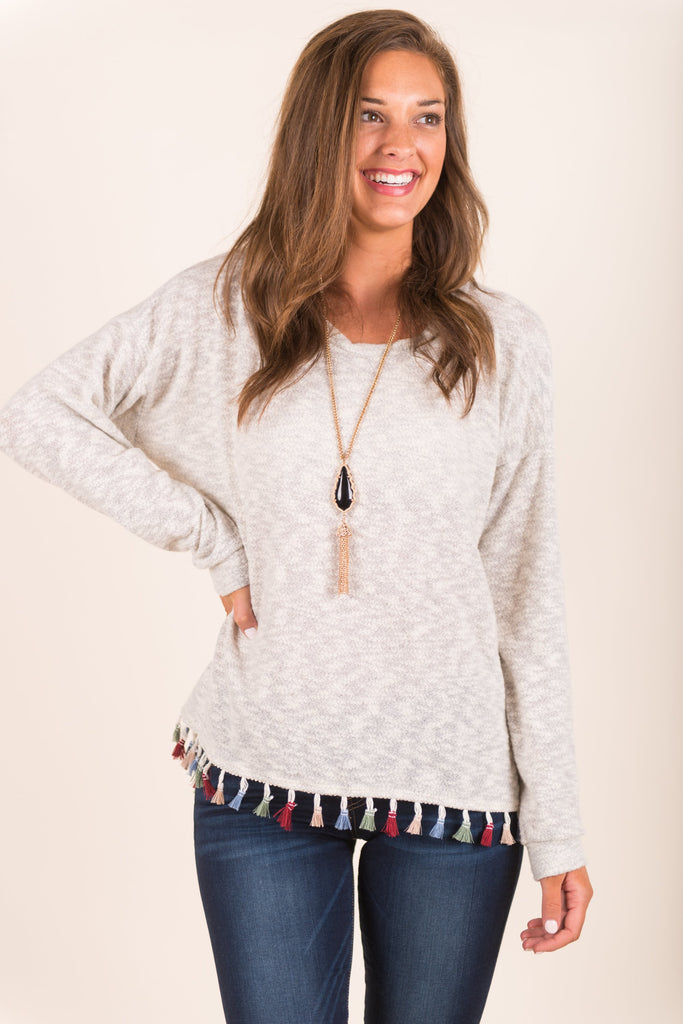 What A Charmer Top, Ivory-Gray