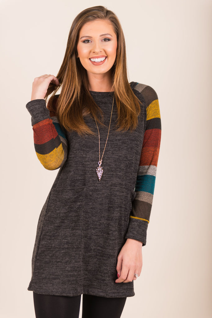The Warmest Embrace Tunic, Charcoal