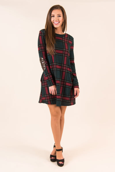 Plaid Presentation Dress, Red-Green