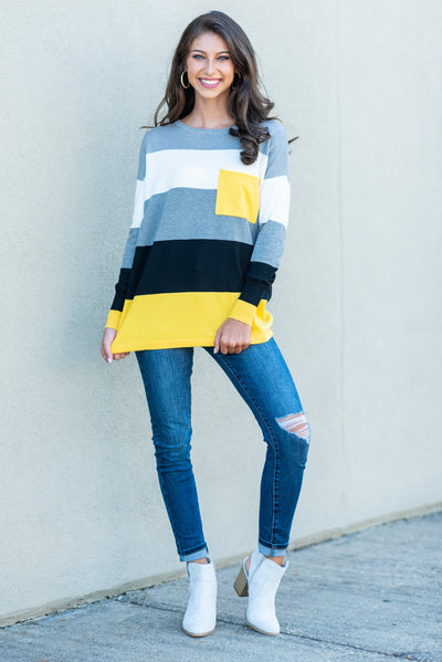 Color Block Pocket Sweater, Yellow-Black