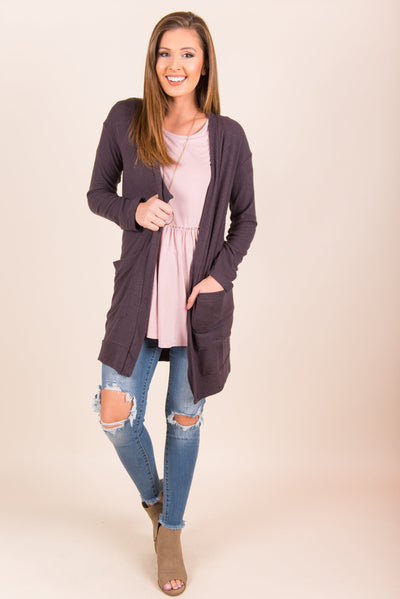 The Luxe Pocket Cardigan, Charcoal