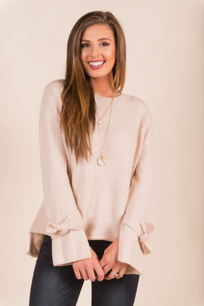 Living Right Sweater, Light Blush