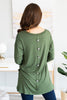 tunic, fall tunic, casual tunic, winter tunic, tunic with front pockets, round neck tunic, round neck long sleeve tunic, tunic with button detailing, fall tunic with pockets, winter tunic with pockets, olive tunic, olive long sleeve tunic, olive fall tunic, olive winter tunic