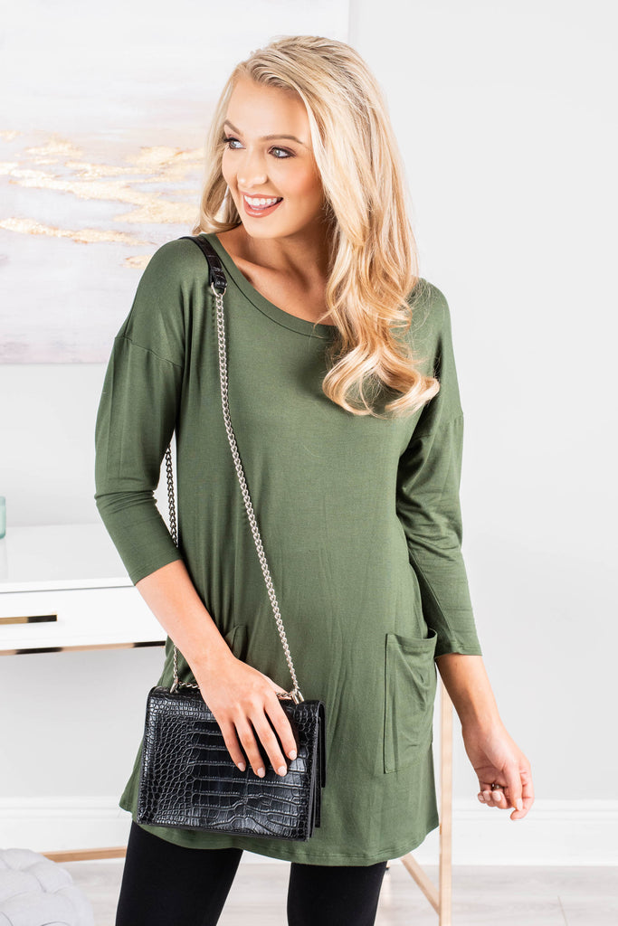 Medley In Love Olive Green Pocket Tunic