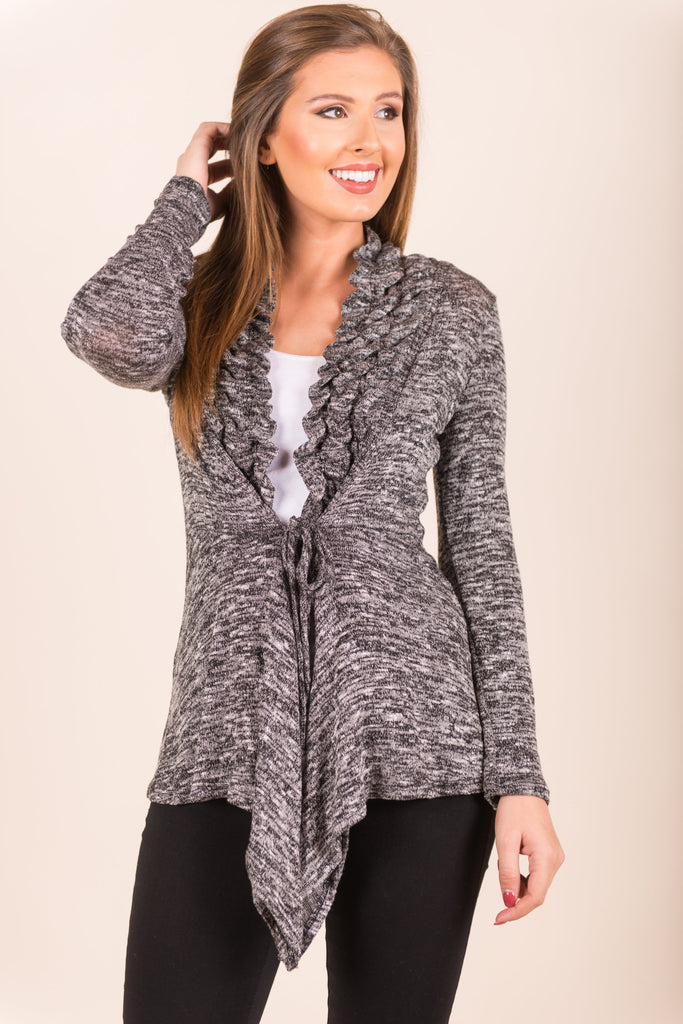 Wrapped In Ruffles Cardigan, Heather Gray