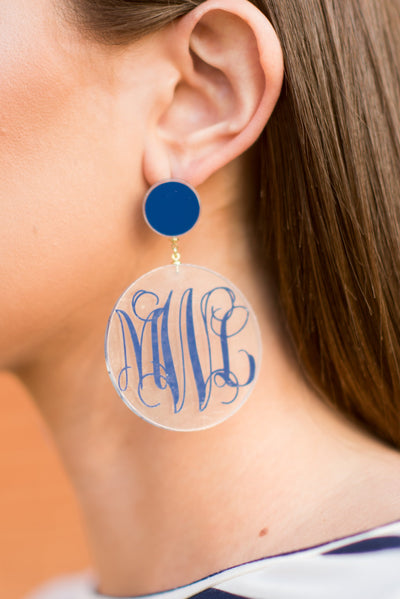Stick Around Earrings, Navy