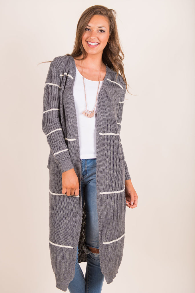 As Long As You Love Me Cardigan, Stone Gray