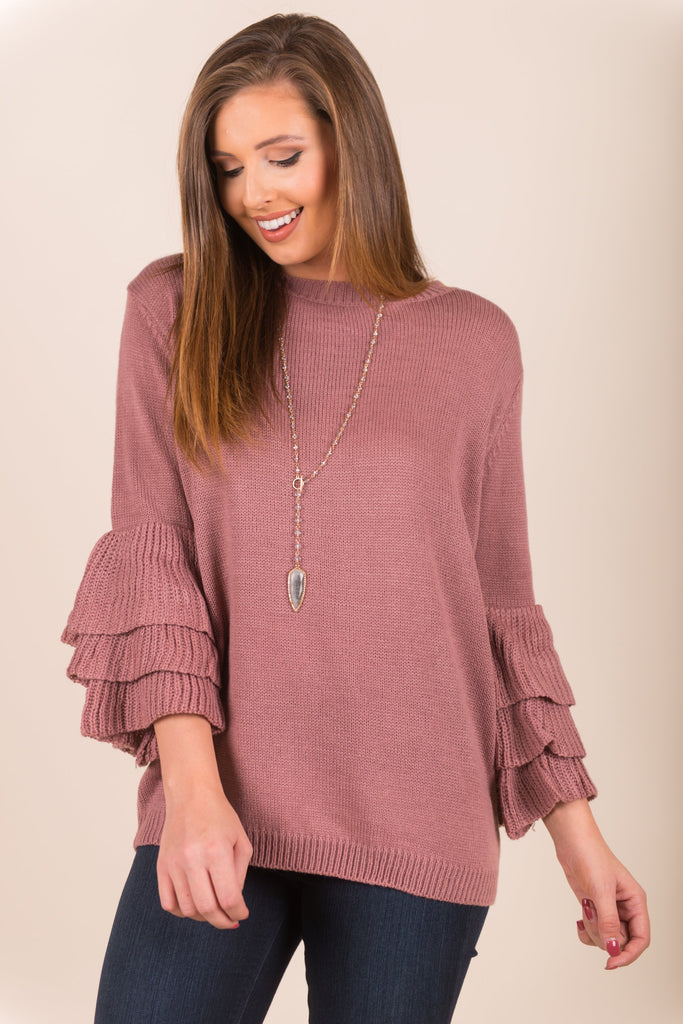 Oh So Frilling Sweater, Mauve