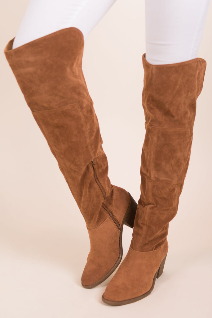 Sassy In Suede Boots, Tan