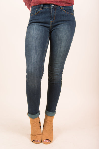 Fit Just Right Skinny Jeans, Dark Denim