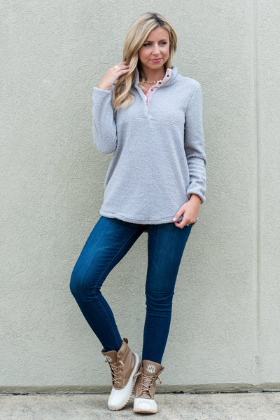 Stay Cozy And Warm Pullover, Stone Gray