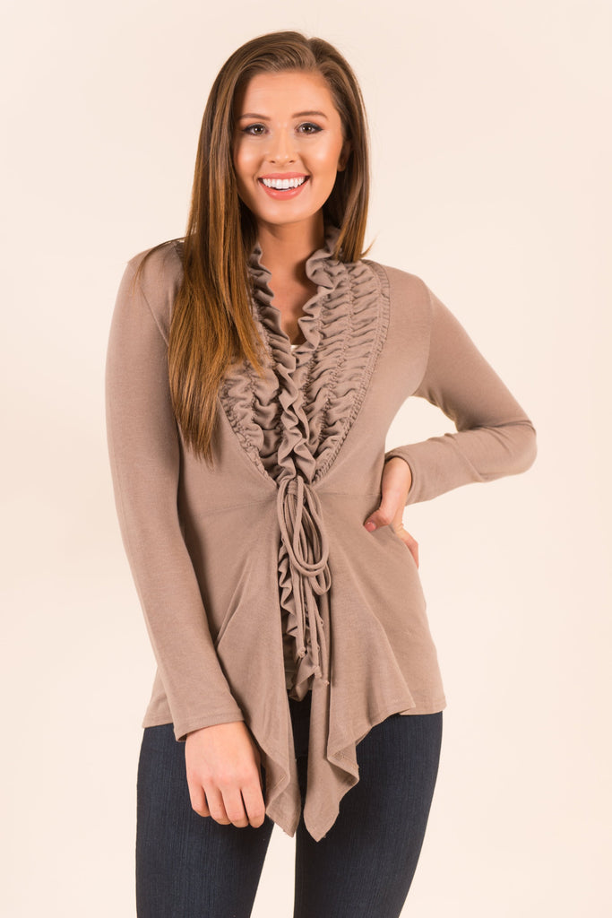 Cinched In Ruffled Cardigan, Taupe