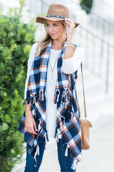 Fall For Fringe Vest, Navy