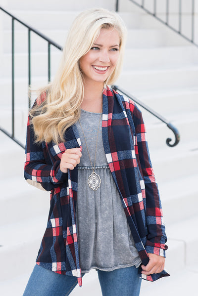 Plaid Party Cardigan, Navy