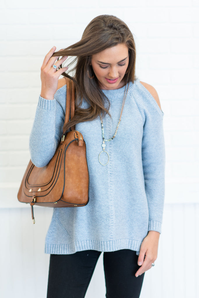 The Melanie Sweater, Blue-Gray