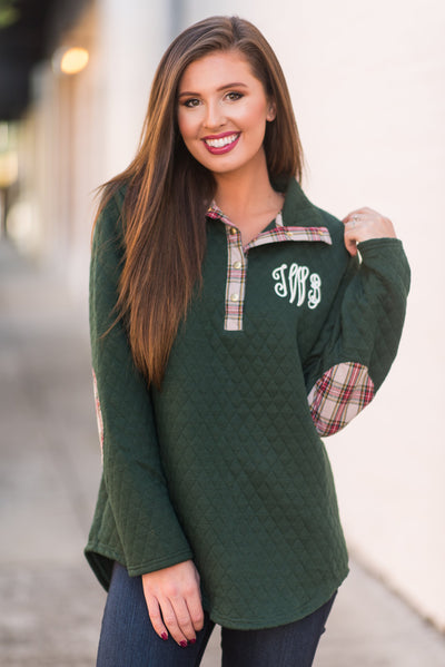 Outdoor Adventures Pullover, Green-Plaid