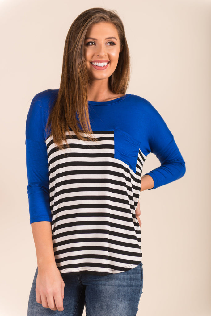 Stripe Up The Band Top, Royal Blue