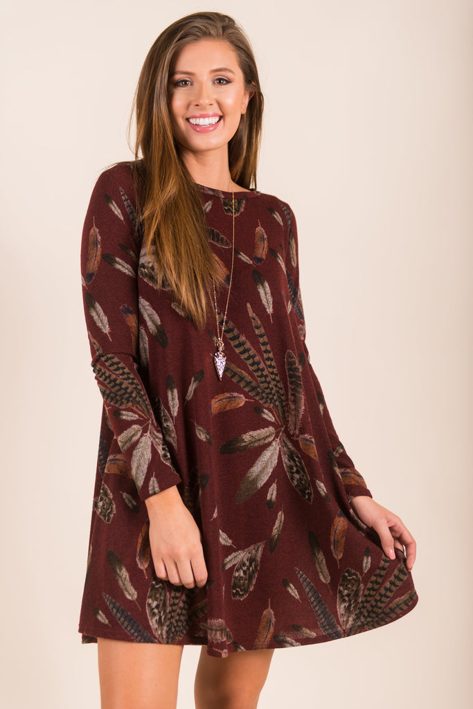 Friend Or Fowl Dress, Burgundy