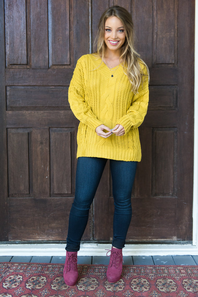 Lead You To Love Sweater, Mustard