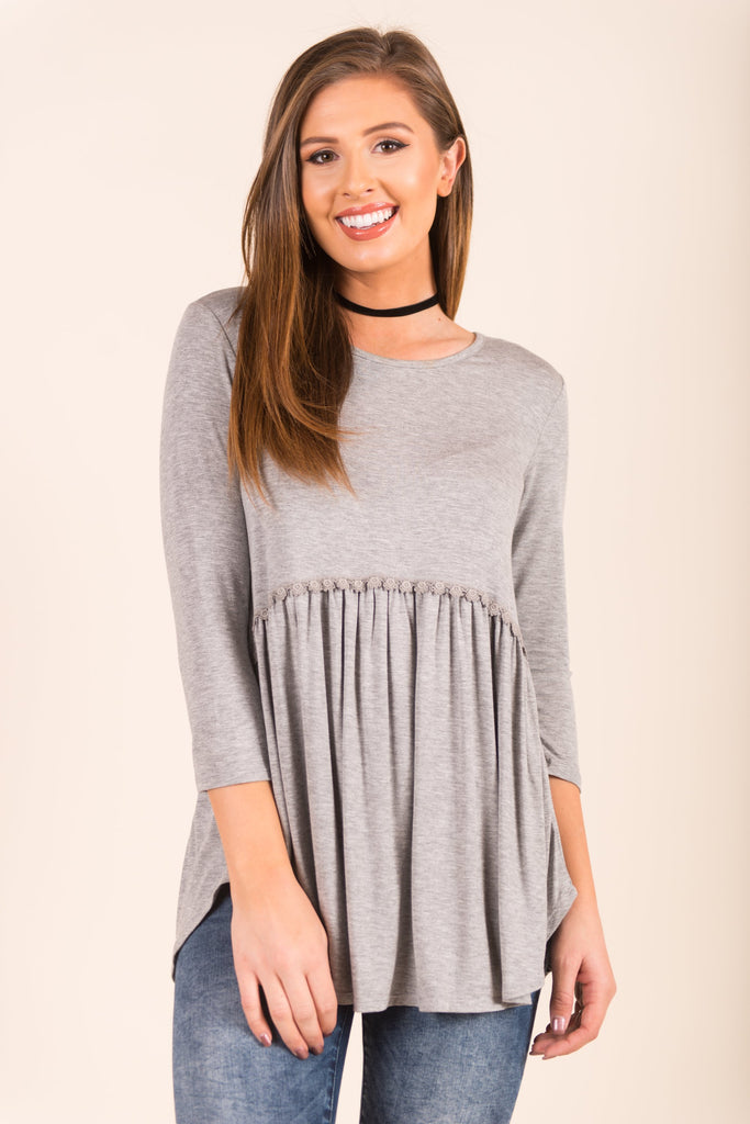 Face The Beauty Top, Heather Gray