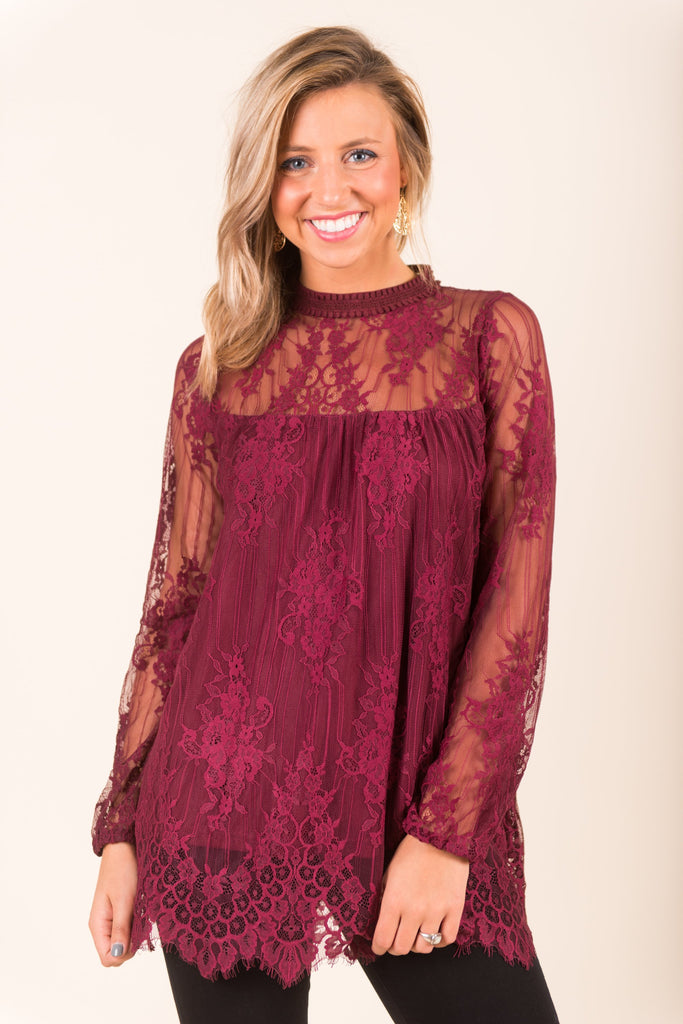 Wine Night Blouse, Burgundy