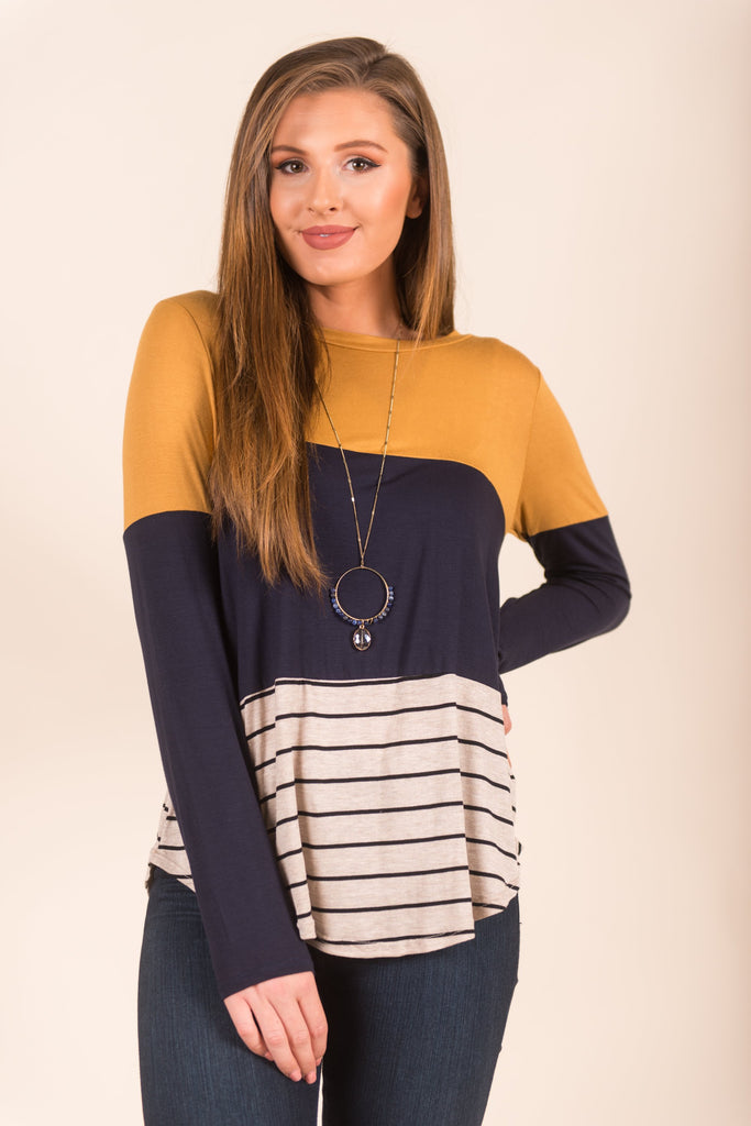 Fab Friendship Top, Mustard-Navy