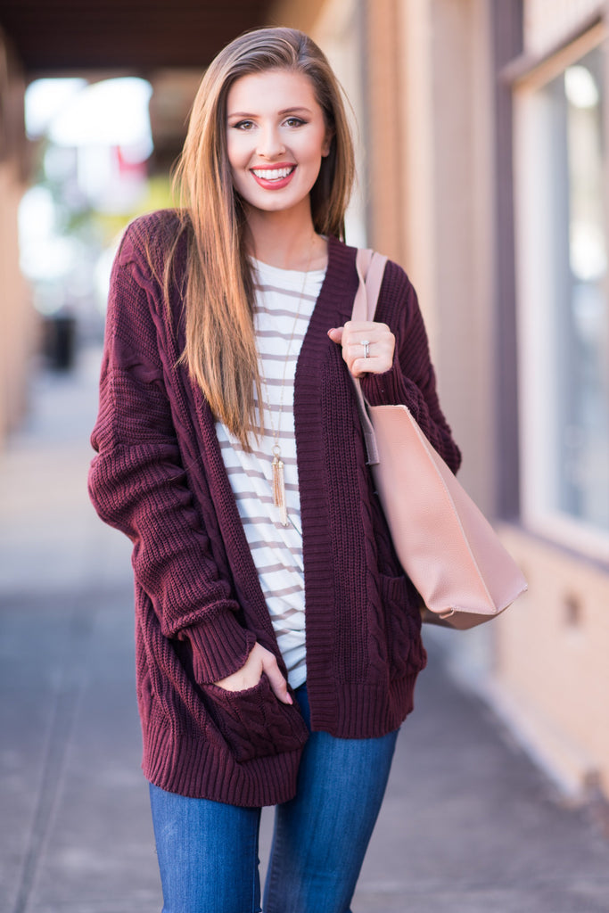 The Samantha Cardigan, Burgundy