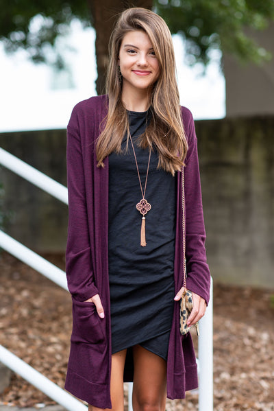 The Luxe Pocket Cardigan, Burgundy