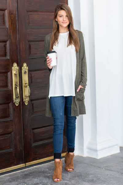 The Luxe Pocket Cardigan, Olive