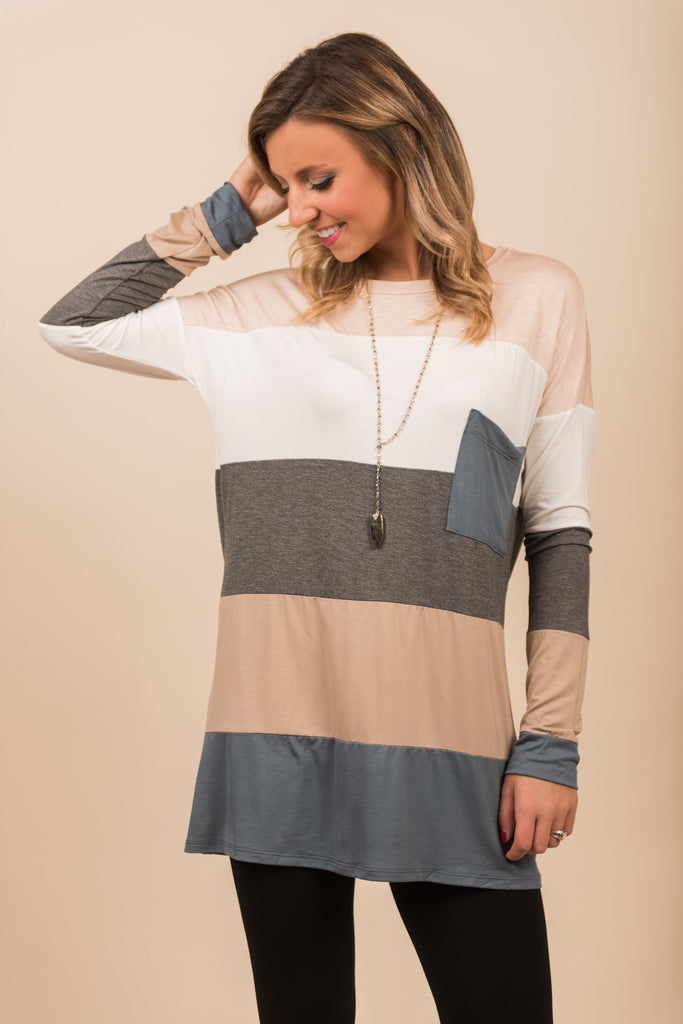 Colorblock Top, Dusty Blue