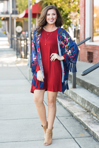 Influenced By Florals Kimono, Navy