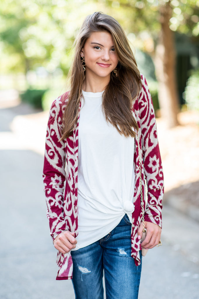 Never Too Busy Cardigan, Burgundy