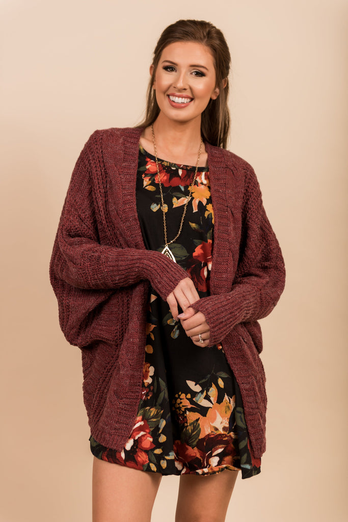 Grounded In Love Cardigan, Marsala