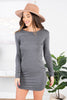 dress, round neckline, long sleeves, stretchy fabric, solid coloring, casual, comfy, charcoal