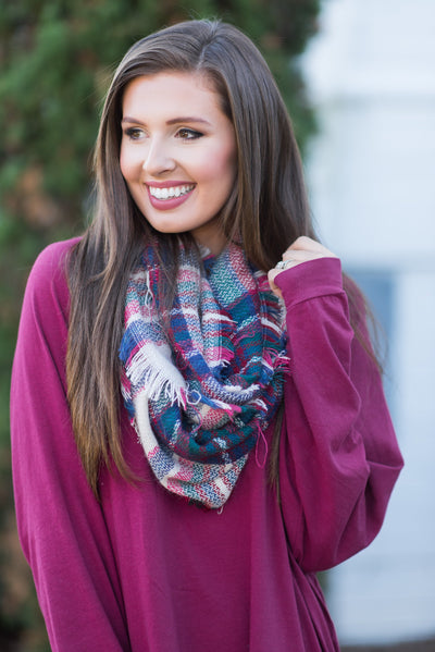 Autumn Air Infinity Scarf, Plum-Fuchsia