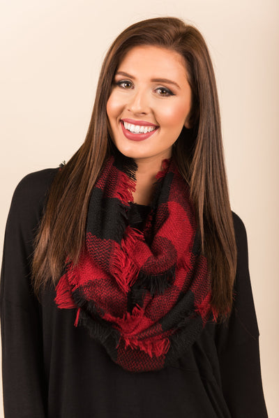 Autumn Air Infinity Scarf, Black-Red