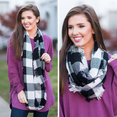 Autumn Air Infinity Scarf, Black-White