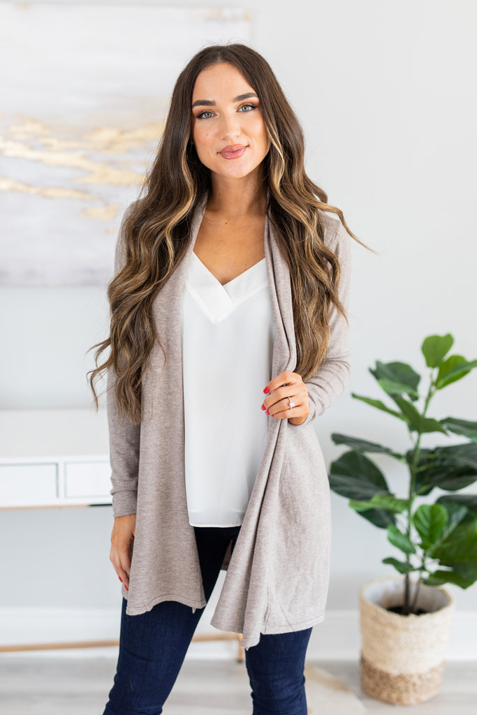 fall, winter, cardigan, fall cardigan, winter cardigan, cozy, soft, long sleeves, open front, classic fit, generous stretch, mocha, mocha cardigan