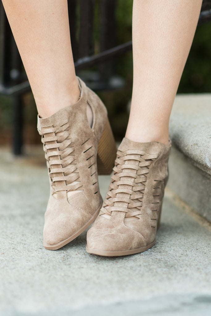 Always Looking Good Booties, Taupe