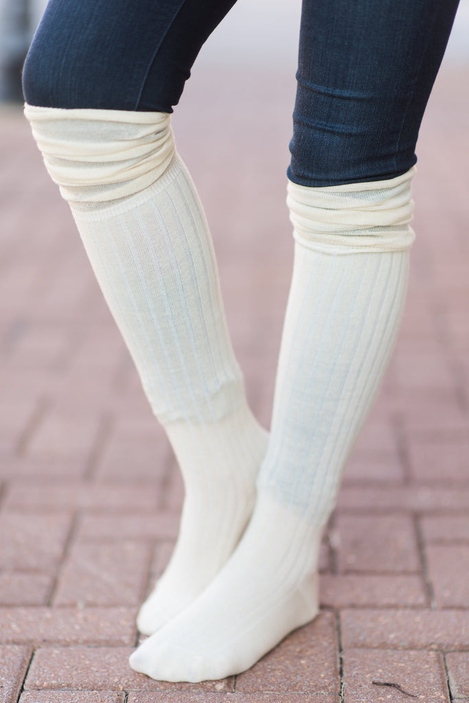 Calm and Cozy Boot Socks, Cream
