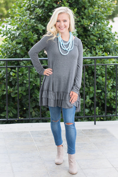 Care To Unwind Tunic, Gray