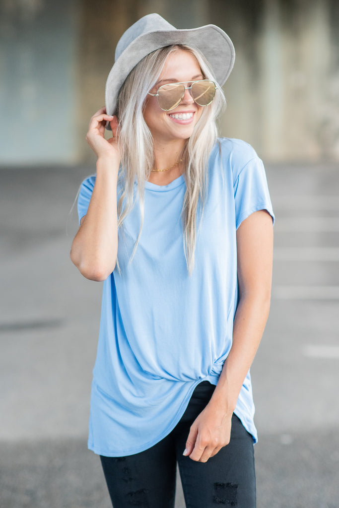 Hold You Dear Denim Blue Knotted Top