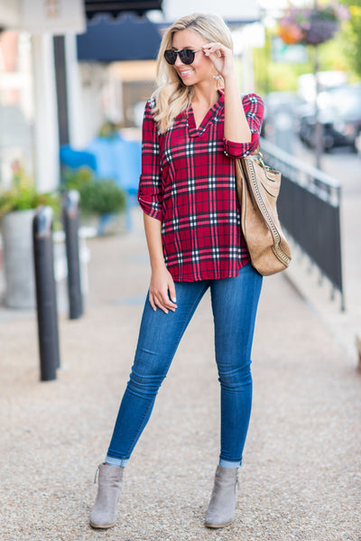 Plaid Is Rad Top, Red